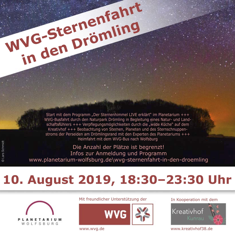 Sternenfahrt in den Drömling, Planetarium Wolfsburg, Kreativhof Kunrau